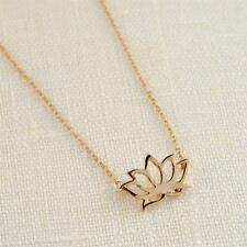 """TINY LOTUS NECKLACE 0.7"""" Small Cute Pendant Gold Silver Tone Chain Jewelry NEW"""