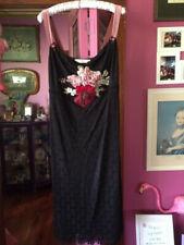 Gorgeous Mazi 'Le Femme' Stretch Black & Velvet Floral Cocktail Dress XL NWT