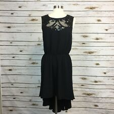 New Asos Dress Size 12 Highlow Black Petite Sleeveless Sequin Womens Open Back