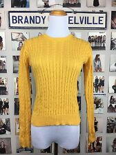 Brandy Melville Sweater Yellow 100% Cotton Crew Neck Cable Knit Size S Nwt
