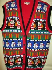 Vtg Ugly Christmas Sweater PARTY Vest Holiday M L XL Vintage Avon Button Knit