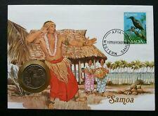 Samoa Traditional Dance 1989 Bird Beach Coconut Tree FDC (coin cover)