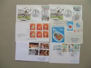 Six Sport-Olympic covers:fdc,special cancel,registered,block of four and six st