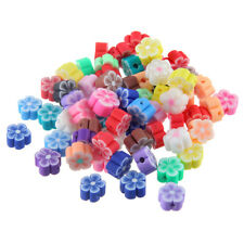 50x Mixed Flower Shpaed Polymer Clay Loose Beads Charm 6mm Fit DIY Jewelry