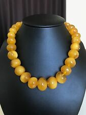 Old, yellow color Baltic Amber necklace/beads  (62.9 g.) 197E