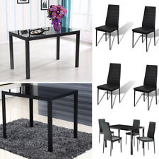 Kitchen Dining Set Glass Metal Rectangle Table and 4/6Chairs Breakfast Furniture