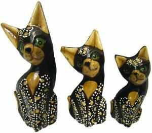 Set 3 Pussy Cats Kitten Bali Carved Painted Wood 15 - 11 cm