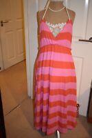 H&M Summer Beach Pink Orange Stripy Maxi Halter Neck Dress size EUR L