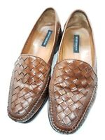 BOSTONIAN Men's Brown Woven Leather Loafers Slip On Shoes Size 9