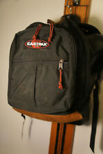 Vintage Eastpak USA Black Leather Bottom Vtg Retro Backpack Book Bag Pack   g1