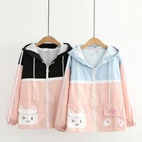Kawaii Clothing Ropa Harajuku Cute Cat 3D Ears Hoodies Coat Preppy Zip Jacket