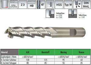 HSS-Alu Schaftfräser, 3 schneidig, lange Ausführung, Aluminiumbearbeitung