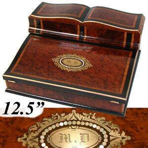 "Exq! Antique French Napoleon III Era 12.5"" Writer's Chest, Box, Lap Desk, Boulle"
