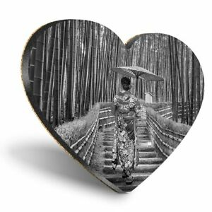 Heart MDF Coasters - BW - Bamboo Forest Japanese Woman  #42524