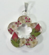 925 sterling silver medium size scalloped pendant with real flowers