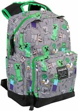 "Official Minecraft Overworld All Over Grey 17"" Backpack New 2020"