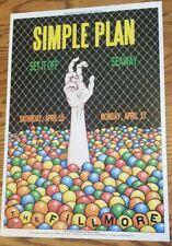 Simple Plan - Concert Poster 13x19 Set It Off Seaway Fillmore Sf 4/15/2017 live