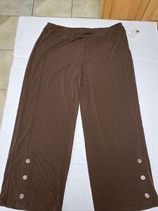 Susan Graver Medium Brown Liquid Knit Pull-on Wide Leg Pants Chocolate XL