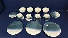 Norman Bacon Woodstock Pottery Dinnerware Turquoise White Plate Bowl Mug Signed