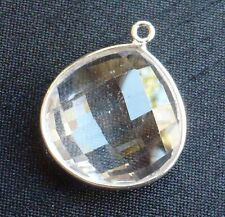 Natural Clear Rock Crystal and Sterling Siver Faceted Heart Shaped Pendant