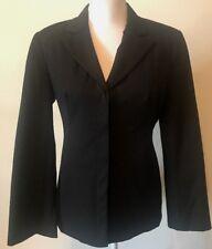 Womens Work Express Black Blazer Coat 5/6 Stretch Hidden Buttons Lined
