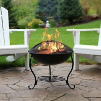 "Sunnydaze 18"" Fire Pit Raised Black Steel with Spark Screen and Fire Poker"