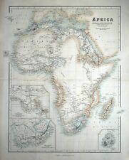 AFRICA, esplorazione Livingstone, BARTH etc FULLARTON Originale Antico MAP c1865