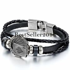 Poker Card Charm Multi-layer Leather Rope Men's Cuff Bangle Bracelet Wristband