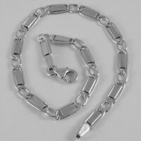 SOLID 18K WHITE GOLD BRACELET WITH FLAT ALTERNATE 4 MM OVAL LINK, MADE IN ITALY