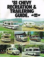 1981 Chevy RV/TOW Guide Brochure:PickUp,VAN,Conversion,MotorHome,BLAZER,Corvette