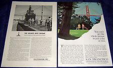Lot of 2 CALIFORNIA Tourism Ads with Golden Gate Bridge~ San Francisco, WWII men