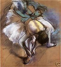Degas Dancer Drawings: Tying Her Slipper - Art Print