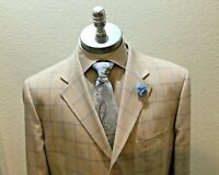 Rizzoli Uomo Italy, Beige & Blue Window Pane Design Blazer Hand Tailored Sz 50 L