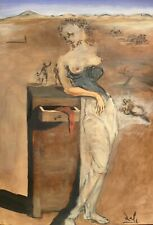 Salvador Dali , tempera on paper painting, signed, origin, COA, Picasso  era