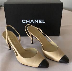 Chanel Beige Nude Black Slingback Heels size 37