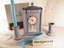"""Wedgwood Blue Jasper Ware Clock  Celebrating the """" Queen Mother's 100th Birthday"""