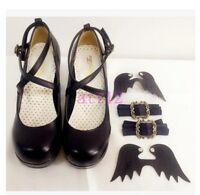 Lolita Bowknot Buckle Womens Pumps Mary Jane High Heel BLock Shoes Platform New