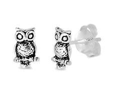 USA Seller Owl Bird Stud Earrings Sterling Silver 925 Best Deal Plain Jewelry