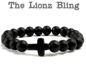 Gothic Chakra Black Onyx Cross on Matte Lava Stone 8mm Bead Stretch Bracelet