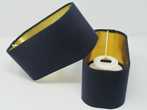 Rounded Rectangle Lampshade 100% Navy Blue Linen Mirror Gold Metallic Lining