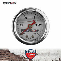 "Proflow 0 - 15 PSI Liquid Filled Fuel Pressure Gauge 1/8"" NPT PFEFG015LF New"