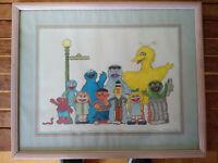 Sesame Street Illustration Production Art pastel painting sign R. Deragon-1992