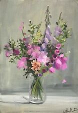 More details for a4 print of original oil painting art pink summer flowers floral  shabby chic
