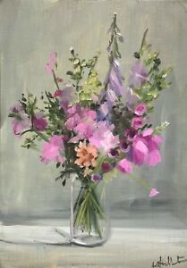 A4 Print of Original oil painting art pink summer flowers floral  shabby chic