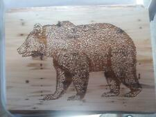 HOME DECOR LASER ENGRAVED LIVE EDGE WALL PLAQUE W/WOODLAND BEAR IMAGE  #70045