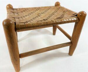 "Vintage 14"" Turned Leg Woven Wicker Rush Top Arts & Crafts Foot Stool Ottoman"