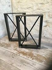 2 X Banco de asiento de acero crudo Hecho a Mano Estilo Industrial piernas Detalle De Cruz 40cm X 32cm