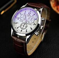 Neue Herren Datum Leder Edelstahl militärische Sport Quarz Wrist Watch White