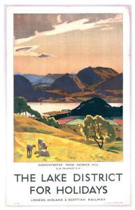 Vintage Lake district Art Print Railway Travel Poster A1/A2/A3/A4