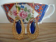 Blue Bead Gold Frame Filigree Charm French Hook Earrings Brand New Handmade